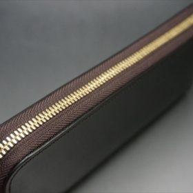 セドウィック社製ブライドルレザーのチョコカラーのラウンドファスナー長財布のファスナー-1