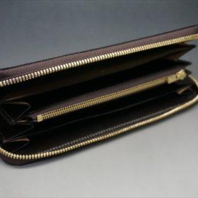 セドウィック社製ブライドルレザーのチョコカラーのラウンドファスナー長財布の内側の平置き