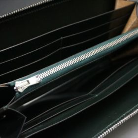 セドウィック社製ブライドルレザーのダークグリーンのラウンドファスナー長財布-11