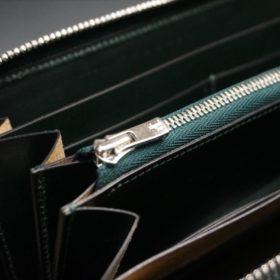 セドウィック社製ブライドルレザーのダークグリーンのラウンドファスナー長財布-12