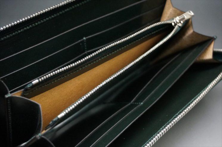 セドウィック社製ブライドルレザーのダークグリーンのラウンドファスナー長財布-13