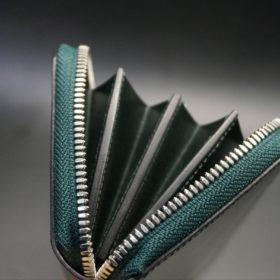 セドウィック社製ブライドルレザーのダークグリーンのラウンドファスナー長財布-15
