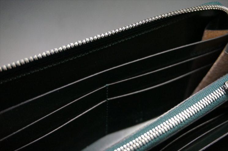 セドウィック社製ブライドルレザーのダークグリーンのラウンドファスナー長財布-16