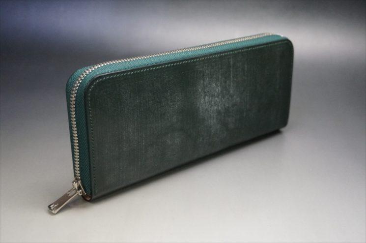 セドウィック社製ブライドルレザーのダークグリーンのラウンドファスナー長財布-2