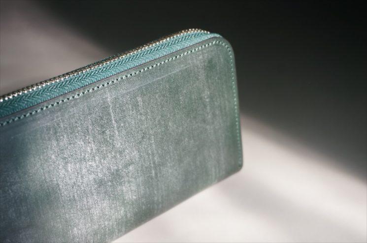 セドウィック社製ブライドルレザーのダークグリーンのラウンドファスナー長財布-4
