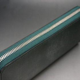 セドウィック社製ブライドルレザーのダークグリーンのラウンドファスナー長財布-5