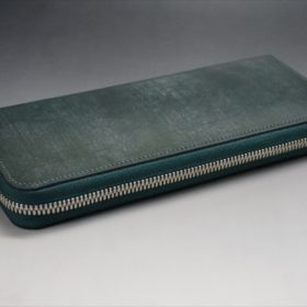 セドウィック社製ブライドルレザーのダークグリーンのラウンドファスナー長財布-7