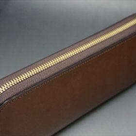 セドウィック社製ブライドルレザーのヘーゼル色のラウンドファスナー長財布(ゴールド色)-1-3