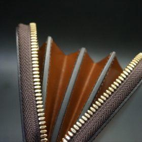 セドウィック社製ブライドルレザーのヘーゼル色のラウンドファスナー長財布(ゴールド色)-1-8