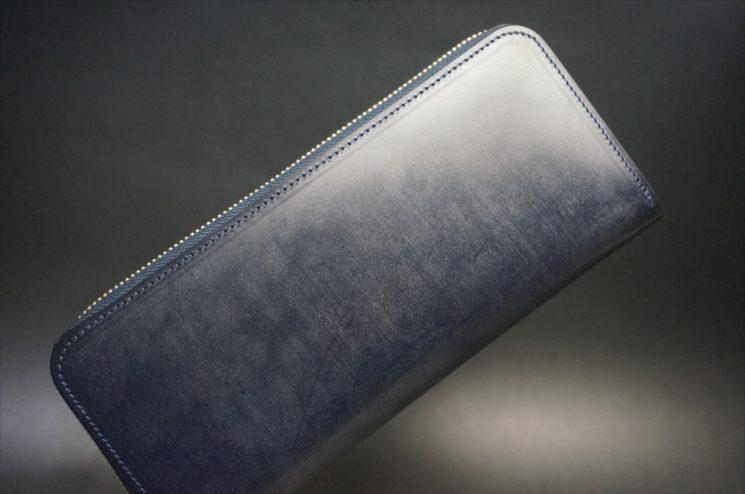 セドウィック社製ブライドルレザーのネイビーカラーのラウンドファスナー長財布-1