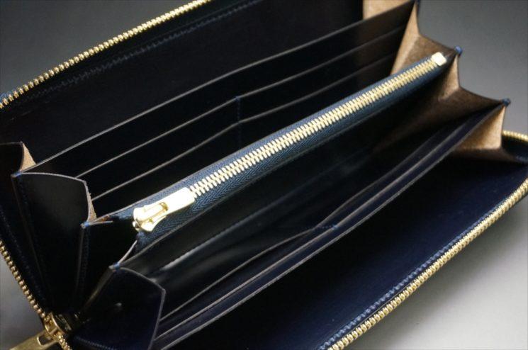 セドウィック社製ブライドルレザーのネイビーカラーのラウンドファスナー長財布-10