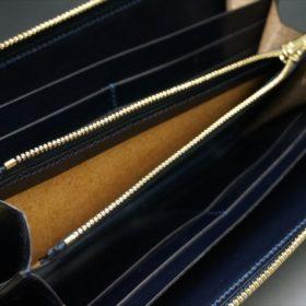 セドウィック社製ブライドルレザーのネイビーカラーのラウンドファスナー長財布-11