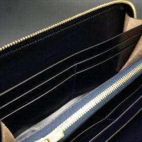 セドウィック社製ブライドルレザーのネイビーカラーのラウンドファスナー長財布-13