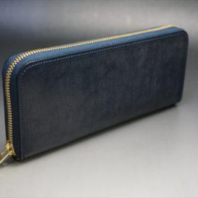 セドウィック社製ブライドルレザーのネイビーカラーのラウンドファスナー長財布-2