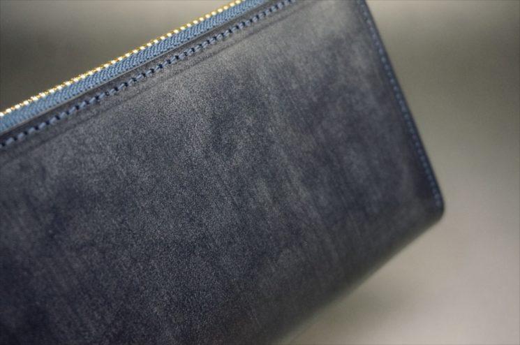 セドウィック社製ブライドルレザーのネイビーカラーのラウンドファスナー長財布-3