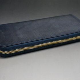 セドウィック社製ブライドルレザーのネイビーカラーのラウンドファスナー長財布-6
