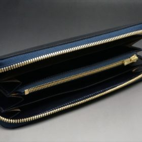 セドウィック社製ブライドルレザーのネイビーカラーのラウンドファスナー長財布-7