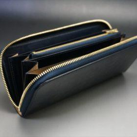 セドウィック社製ブライドルレザーのネイビーカラーのラウンドファスナー長財布-9