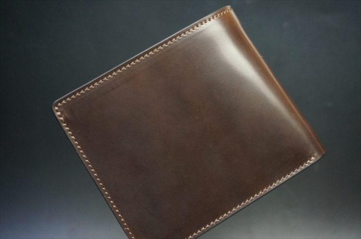 ホーウィン社製シェルコードバンのダークコニャックの二つ折り財布(ホックシルバー)-1