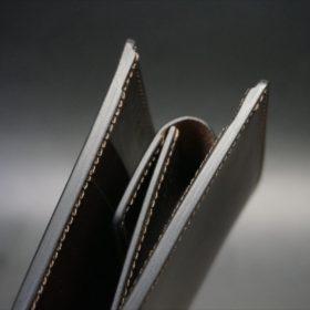 ホーウィン社製シェルコードバンのダークコニャックの二つ折り財布(ホックシルバー)-3