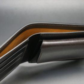 ホーウィン社製シェルコードバンのダークコニャックの二つ折り財布(ホックシルバー)-4