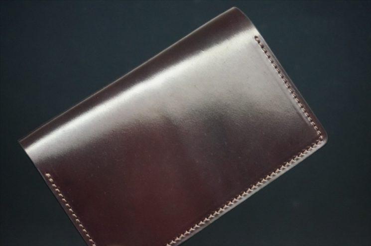 ホーウィン社製シェルコードバンのバーガンディ色の名刺入れ-1-1