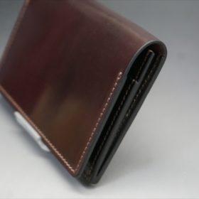 ホーウィン社製シェルコードバンのバーガンディ色の名刺入れ-1-3