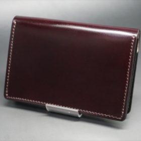 レーデルオガワ社製染料仕上げコードバンのバーガンディ色の名刺入れ-1-4