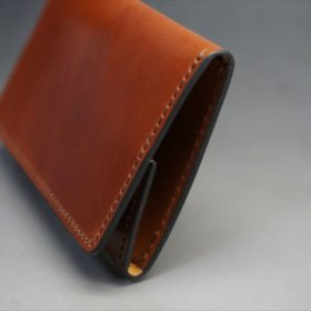 ホーウィン社製シェルコードバンの#4色の横長タイプの小銭入れ(ゴールド色)-1-3