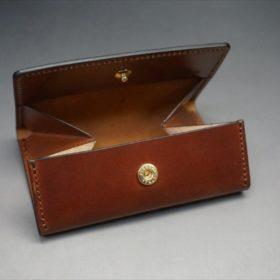 ホーウィン社製シェルコードバンの#4色の横長タイプの小銭入れ(ゴールド色)-1-7