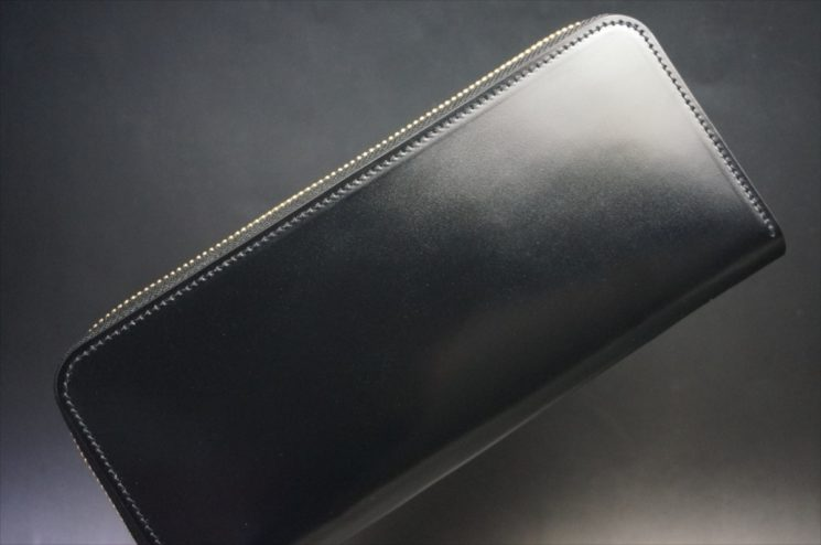 新喜皮革社製オイルコードバンのブラックカラーのラウンドファスナー長財布(ゴールド色)-1-1