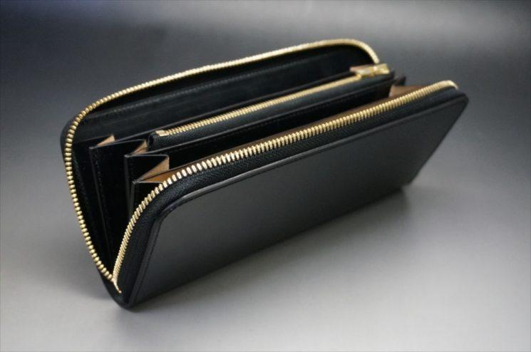 新喜皮革社製オイルコードバンのブラックカラーのラウンドファスナー長財布(ゴールド色)-1-11