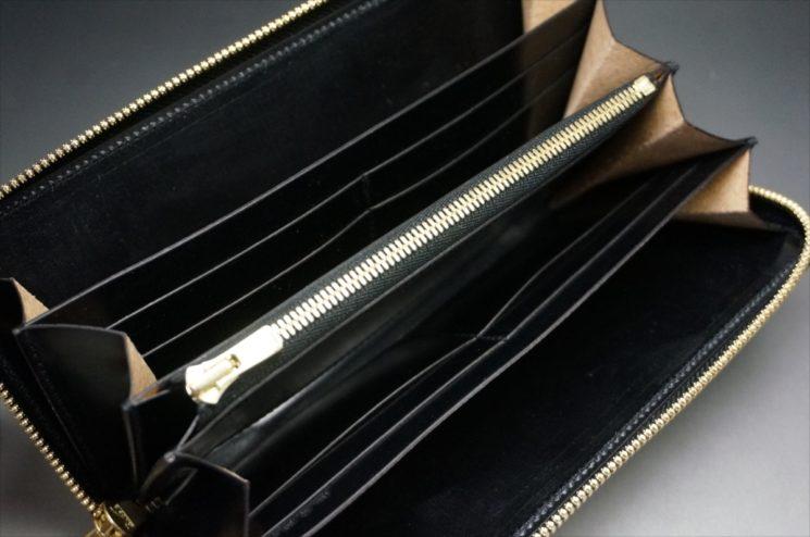 新喜皮革社製オイルコードバンのブラックカラーのラウンドファスナー長財布(ゴールド色)-1-12