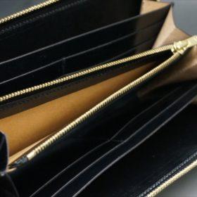 新喜皮革社製オイルコードバンのブラックカラーのラウンドファスナー長財布(ゴールド色)-1-14
