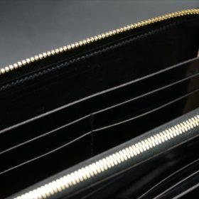新喜皮革社製オイルコードバンのブラックカラーのラウンドファスナー長財布(ゴールド色)-1-15