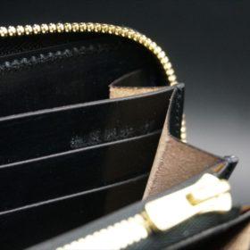 新喜皮革社製オイルコードバンのブラックカラーのラウンドファスナー長財布(ゴールド色)-1-16