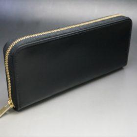 新喜皮革社製オイルコードバンのブラックカラーのラウンドファスナー長財布(ゴールド色)-1-2