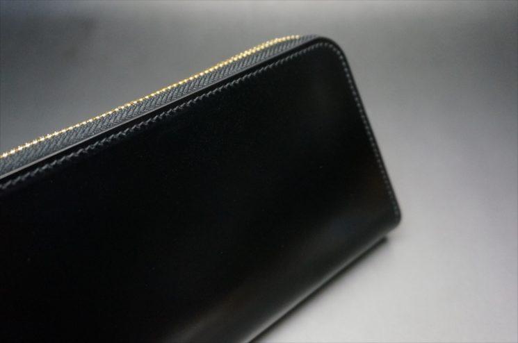 新喜皮革社製オイルコードバンのブラックカラーのラウンドファスナー長財布(ゴールド色)-1-3
