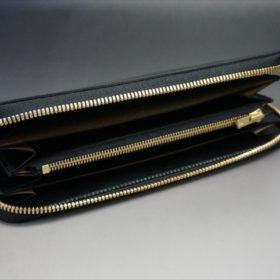 新喜皮革社製オイルコードバンのブラックカラーのラウンドファスナー長財布(ゴールド色)-1-8