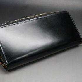 新喜皮革社製オイルコードバンのブラックカラーのラウンドファスナー長財布(ゴールド色)-1-9