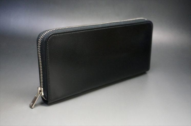 新喜皮革社製オイルコードバンのブラックのラウンドファスナー長財布(シルバー色)-サンプル画像1