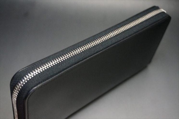 新喜皮革社製オイルコードバンのブラックのラウンドファスナー長財布(シルバー色)-サンプル画像2