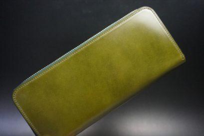 新喜皮革社製オイルコードバンのグリーンを使用したラウンドファスナー長財布(ゴールド色)-1