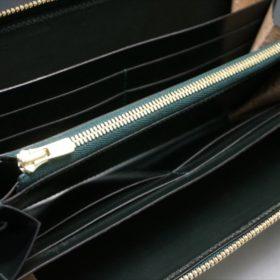 新喜皮革社製オイルコードバンのグリーンを使用したラウンドファスナー長財布(ゴールド色)-10