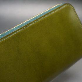 新喜皮革社製オイルコードバンのグリーンを使用したラウンドファスナー長財布(ゴールド色)-3