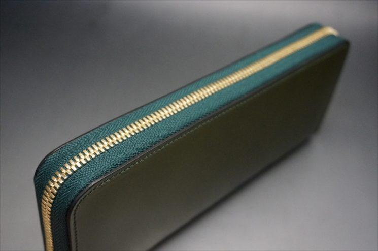 新喜皮革社製オイルコードバンのグリーンを使用したラウンドファスナー長財布(ゴールド色)-4