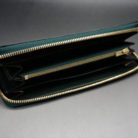 新喜皮革社製オイルコード7バンのグリーンを使用したラウンドファスナー長財布(ゴールド色)-