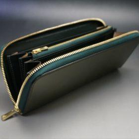 新喜皮革社製オイルコードバンのグリーンを使用したラウンドファスナー長財布(ゴールド色)-9