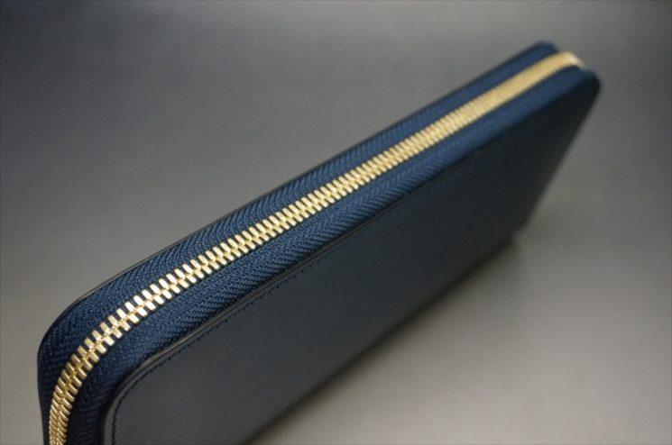 新喜皮革社製オイルコードバンのネイビーのラウンドファスナー長財布(ゴールドファスナー)-2