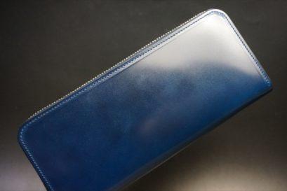新喜皮革社製オイルコードバンのネイビーカラーのラウンドファスナー長財布(ファスナーシルバー)-1